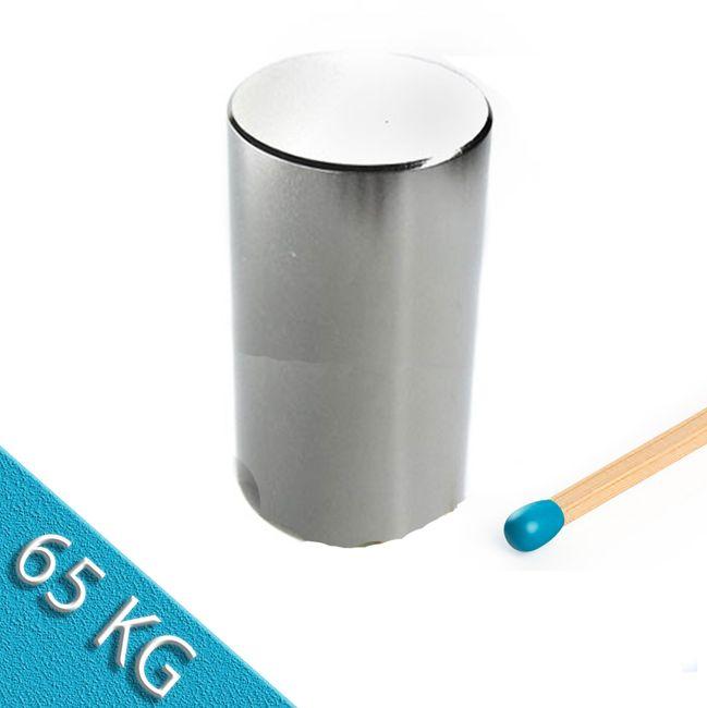 Stabmagnet Ø 30,0 x 50,0 mm N50 Nickel - hält 65 kg