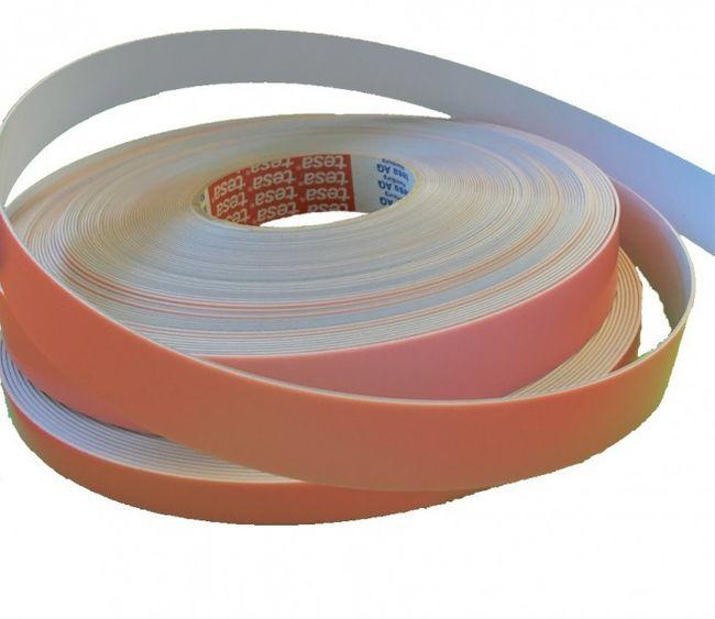 Stahlband Weiß selbstklebend mit Tesa Kleber - Meterware - 12,5mm