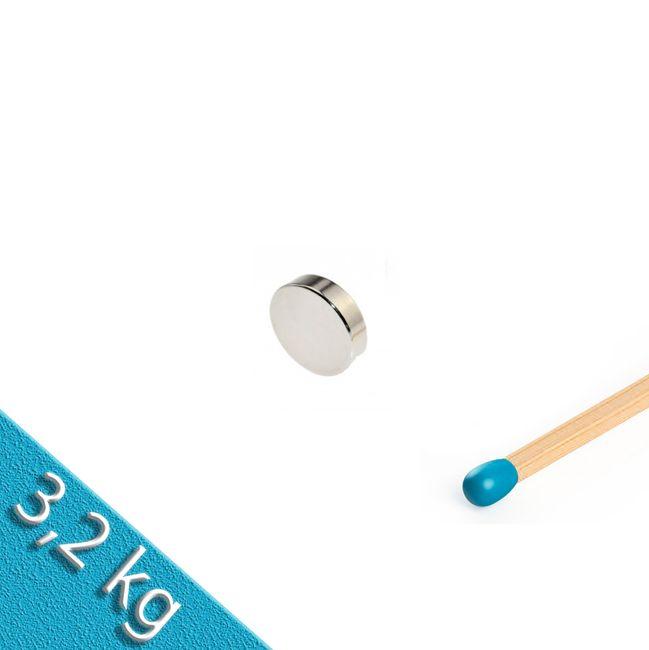Scheibenmagnet Ø 15,0 x 3,0 mm N45 Nickel - hält 2,9 kg