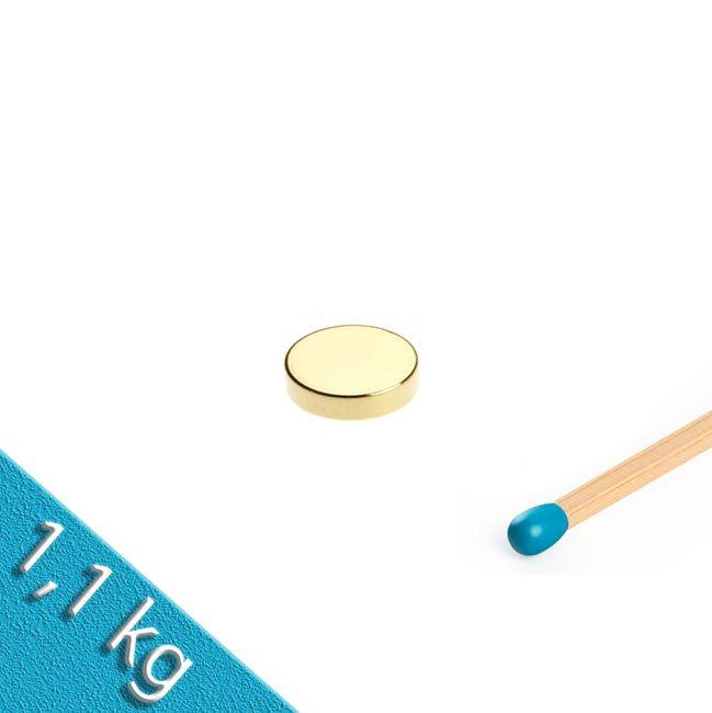 Scheibenmagnet Ø 10,0 x 2,0 mm N40 Gold - hält 1,1 kg