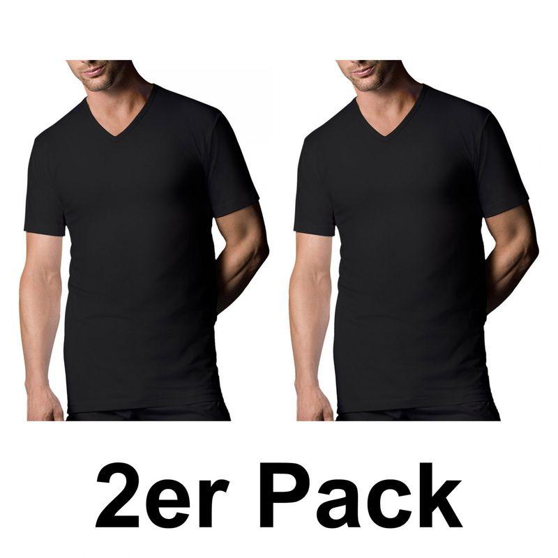 2 er Pack NUR DER ? Dry & Cool T-Shirt mit V-Ausschnitt schwarz Unterhemd