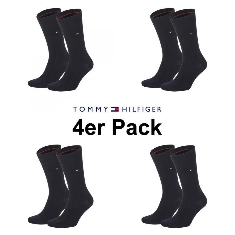 4er Pack Tommy Hilfiger Business und Freizeit Socken in schwarz uni Multipack