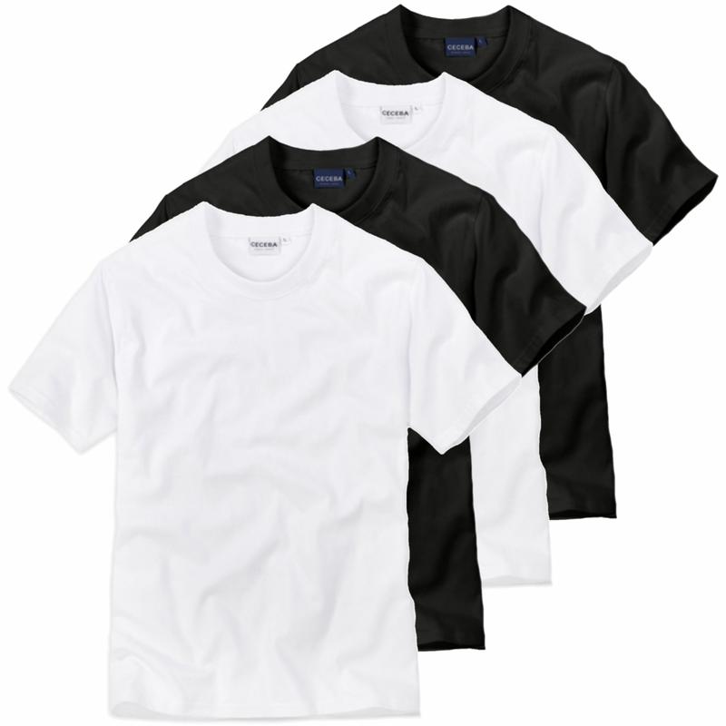 4 er Pack CECEBA Herren Rundhals T-Shirt american Shirt Unterhemd schwarz weiß