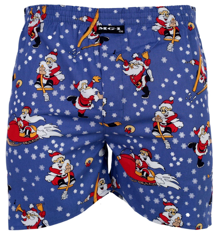 MG-1 Herren Webboxer Boxershorts Shorts X-Mas Weihnachten Nikolaus Santa witzig