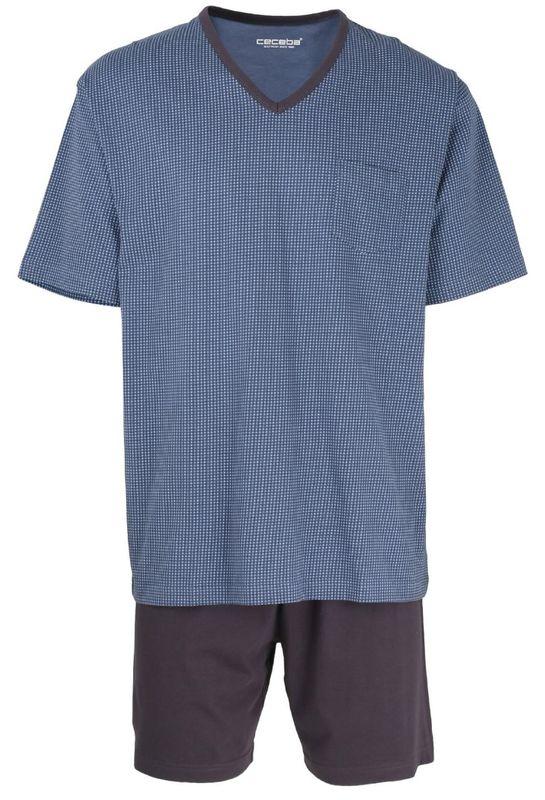 CECEBA kurzer Pyjama V-Ausschnitt Herren Schlafanzug Shorty marine Übergrößen