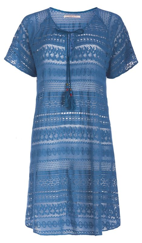 PiP Studio Damen Tunika Kleid Denise crochet Tunic kurzarm Strick Design