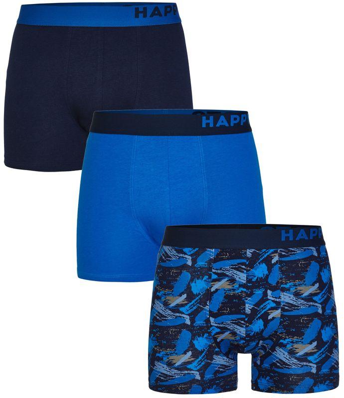 3er Pack Happy Shorts Boxershorts Pants Boxer Jersey blau gemustert und uni