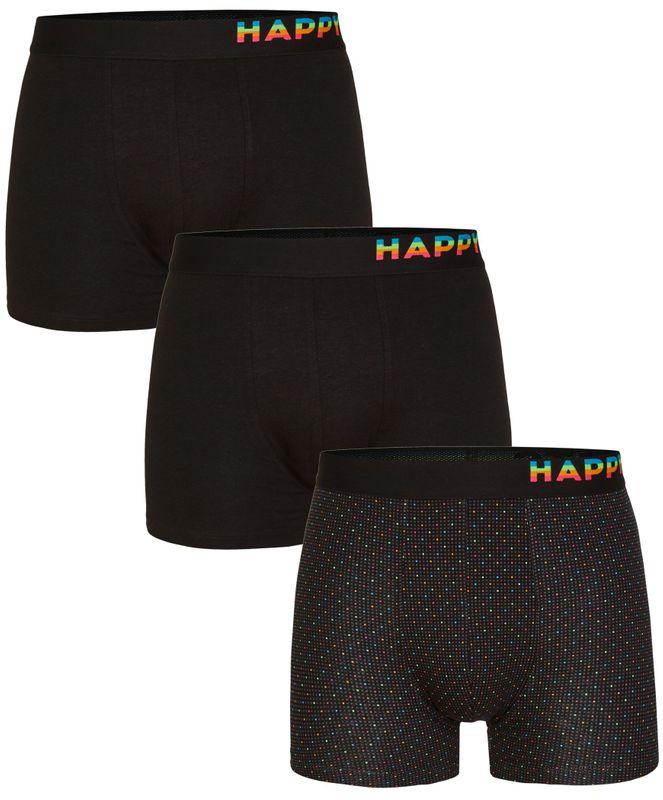 3er Pack Happy Shorts Boxershorts Pants Boxer Jersey schwarz gemustert und uni
