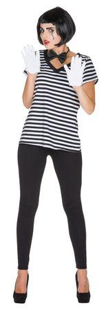 V-Shirt Ringel schwarz weiss