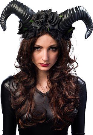 Haarreif Hörner Blumen schwarz – Bild 1
