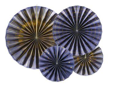 4 Deko-Rosetten blau-gold