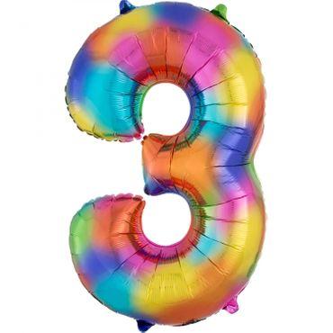 Folienballon Zahl 3 regenbogen - 88cm