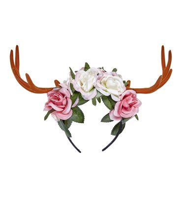 Haarreif Geweih braun mit Blumen