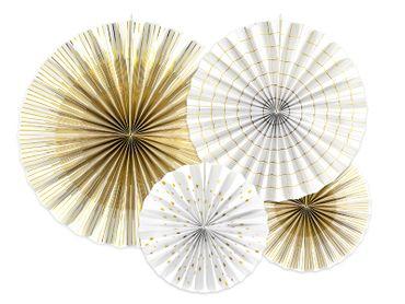 4 Deko-Rosetten weiß-gold