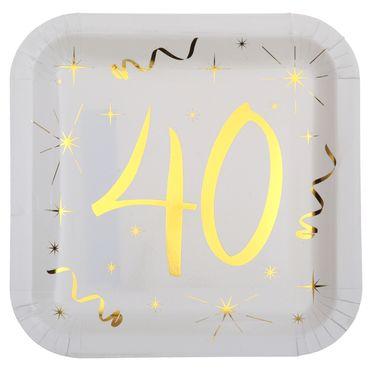10 Papp-Teller Geburtstag 40 weiß-gold