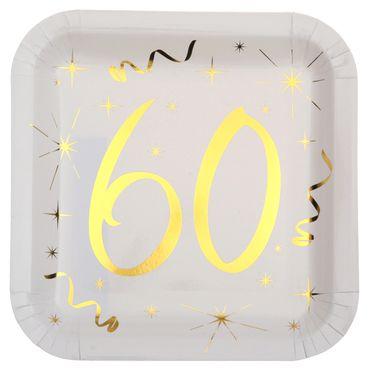 10 Papp-Teller Geburtstag 60 weiß-gold
