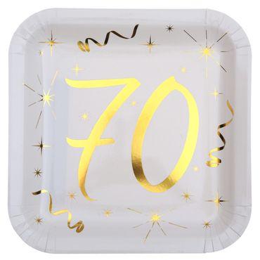 10 Papp-Teller Geburtstag 70 weiß-gold