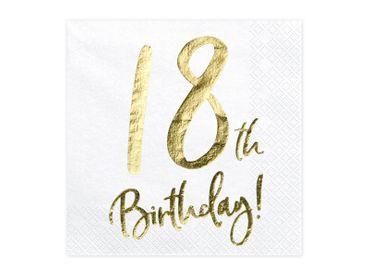 20 Servietten Geburtstag 18 weiß-gold – Bild 1