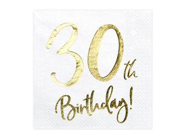 20 Servietten Geburtstag 30 weiß-gold – Bild 1