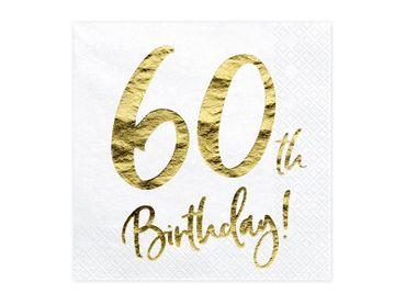 20 Servietten Geburtstag 60 weiß-gold – Bild 1