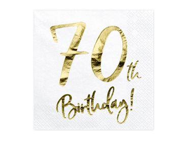 20 Servietten Geburtstag 70 weiß-gold – Bild 1