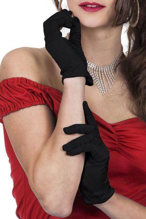 Gala-Handschuhe Satin schwarz