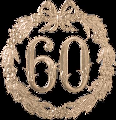 Festliche Zahl gold 60 Ø 24cm