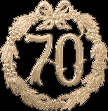 Festliche Zahl gold 70 Ø 24cm