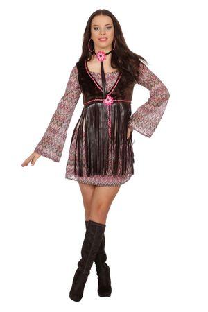 Hippie-Kleid mit Weste