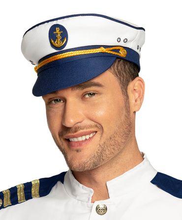 Kapitäns-Mütze Captain Joyce weiß-blau