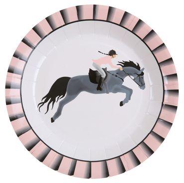 10 Papp-Teller Horse Riding Pferd – Bild 1