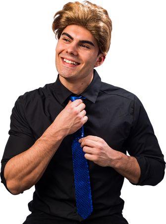 Krawatte Pailletten blau