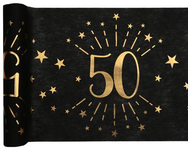 Tischläufer Vlies 50 schwarz-gold