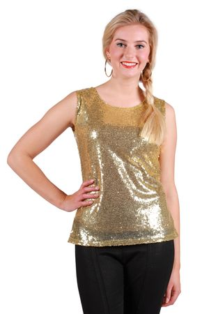 Pailletten-Top Basic gold – Bild 1