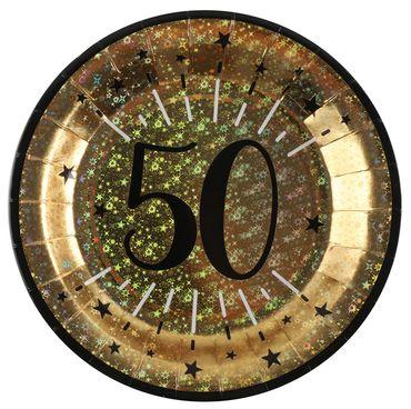 10 Papp-Teller Geburtstag 50 gold-schwarz