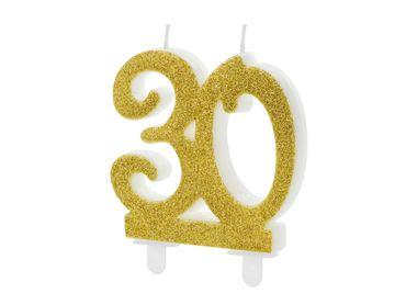 "Kuchen-Kerze ""30"" gold Glitter – Bild 1"