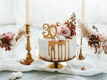 "Kuchen-Kerze ""30"" gold Glitter – Bild 2"