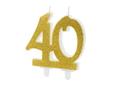 "Kuchen-Kerze ""40"" gold Glitter – Bild 1"