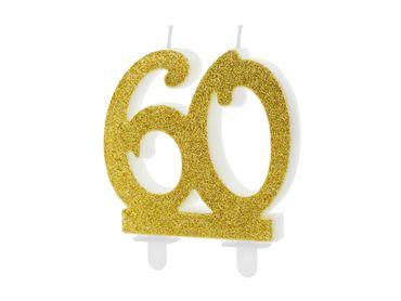 "Kuchen-Kerze ""60"" gold Glitter – Bild 1"