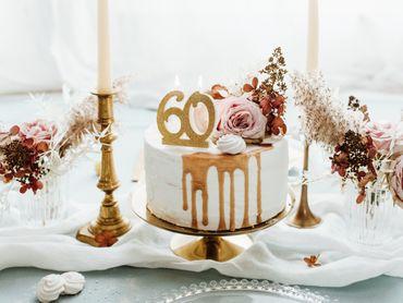 "Kuchen-Kerze ""60"" gold Glitter – Bild 2"