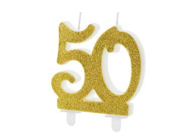 "Kuchen-Kerze ""50"" gold Glitter – Bild 1"