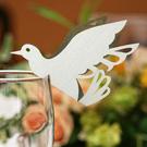 12 Namenskärtchen Taube weiß