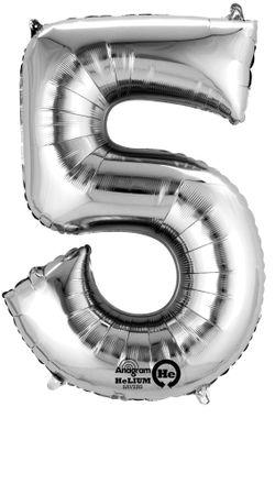 Folienballon Zahl 5 silber - 88cm
