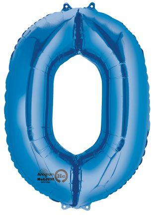 Folienballon Zahl 0 blau- 88cm