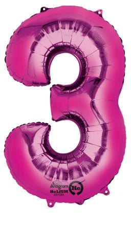 Folienballon Zahl 3 pink - 88cm