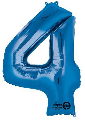 Folienballon Zahl 4 blau- 88cm