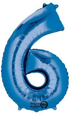 Folienballon Zahl 6 blau- 88cm