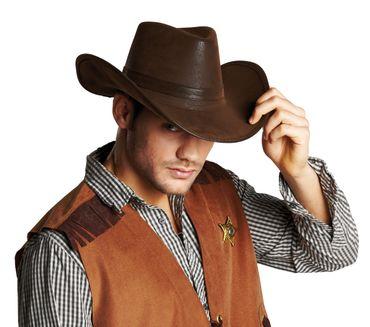 Cowboyhut Lederoptik braun