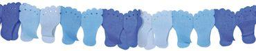 Papiergirlande Füßchen blau