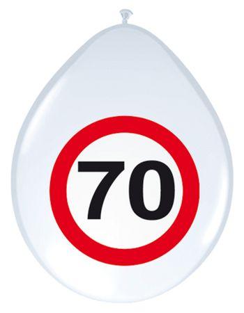 8 Ballons Verkehrsschild 70